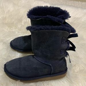 UGG blue suede Bailey bow little girl kids boots